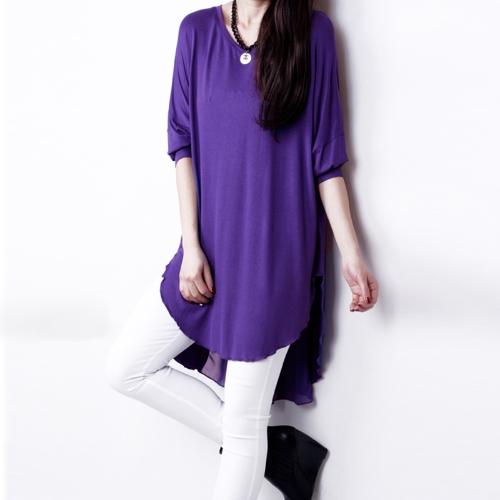 Модная Женская T-Рубашка Сращивание Шифон Асимметричный Подол O-Образным Вырезом с Кожаными Рукавами Свободный Топ Черный/Белый/Фиолетовый