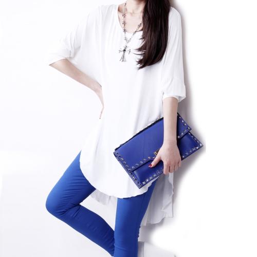 Moda mujer camiseta Patchwork gasa dobladillo asimétrico manga del Batwing O cuello suelto superior negro/blanco/púrpura