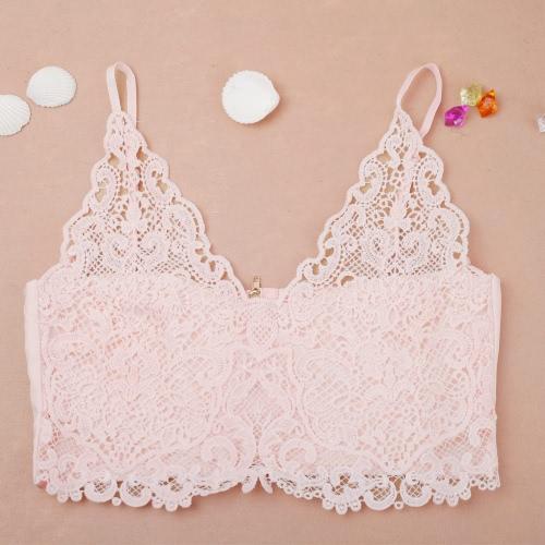 Mujeres sexy encaje Crochet Top V profunda cuello espaguetis correa Zip camisola posterior tapa del tanque Bralet negro/blanco/rosa