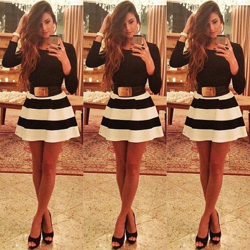 Mini vestido cuello manga larga Sexy fiesta vestido delgado sin cinturón negro de rayas moda mujer