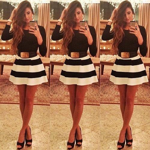 Fashion Women Stripe Mini Dress Crew Neck Long Sleeve Sexy Slim Party Dress without Belt Black