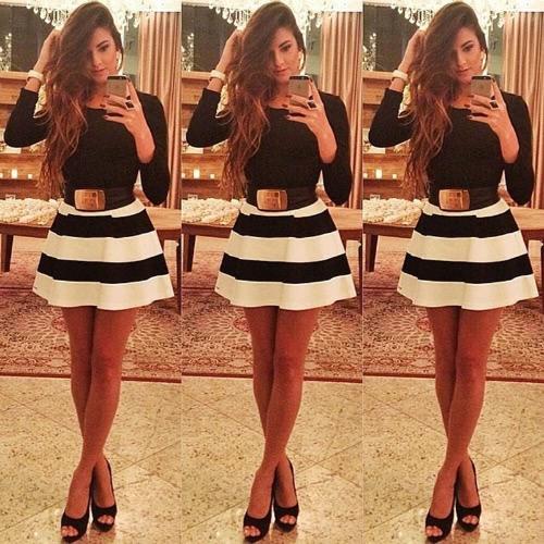 Mode Frauen Streifen Minikleid Runde Hals Langarm Sexy schlank Party Kleid ohne Gürtel schwarz