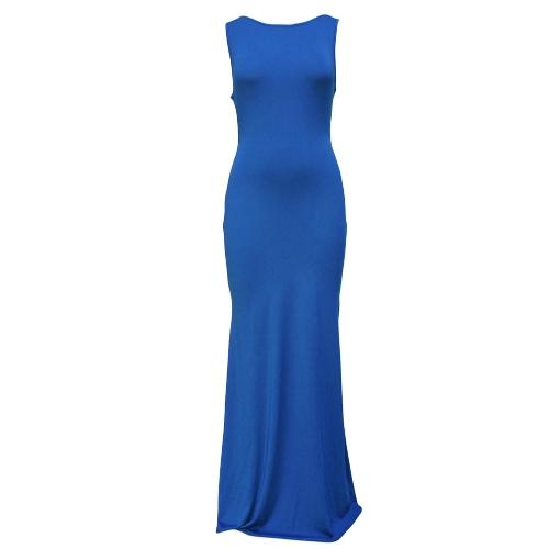 Mujeres sexy vestido Maxi sólido Color dobladillo asimétrico cuello O sin mangas noche fiesta discoteca vestido largo negro/azul/rojo