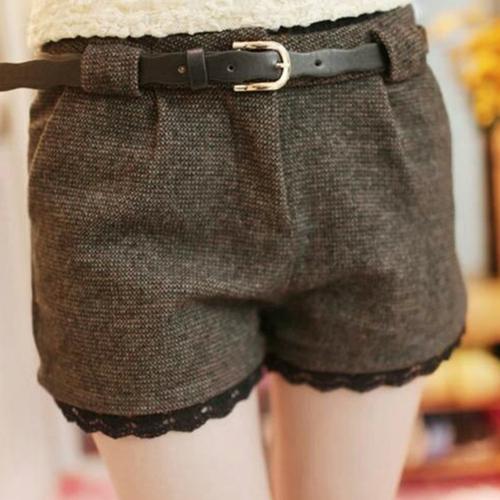 Las mujeres de moda Slim cortos lado bolsillos encaje puños peinado pantalones cortos negro/de color caqui