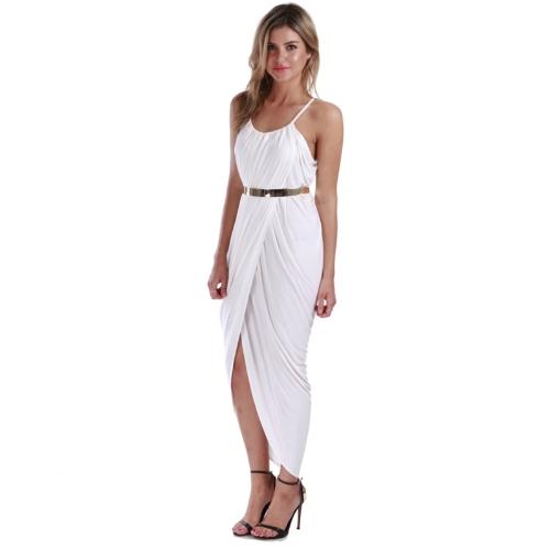 New Women Dress Spaghetti Straps Irregular Hem Drape Maxi Party Dress Beach Boho Sundress with Belt