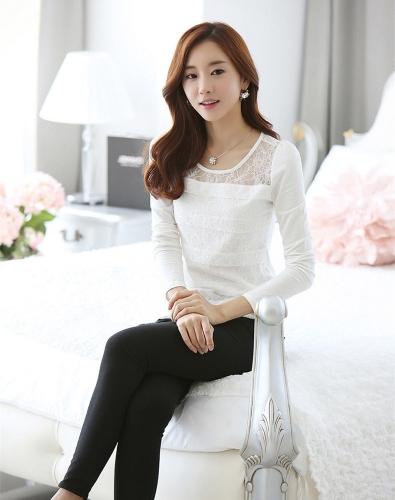 Moda mujer delgada camiseta encaje Floral