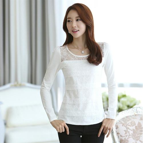 Moda mujer delgada camiseta encaje Floral redondo cuello manga larga blusas elegante blusa blanca