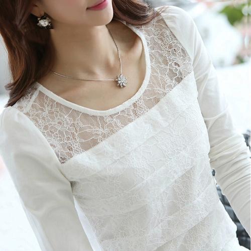 TOMTOP / Moda mulheres Slim t-shirt Floral laço redondo pescoço elegante Tops de manga longa blusa branca