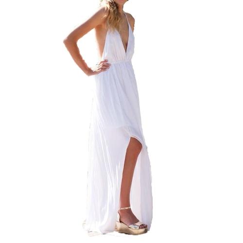 Nueva mujer Sexy vestido de Gasa Maxi Cruz lado de profundo escote en v espaguetis correa partido Vestido de fiesta Clubwear