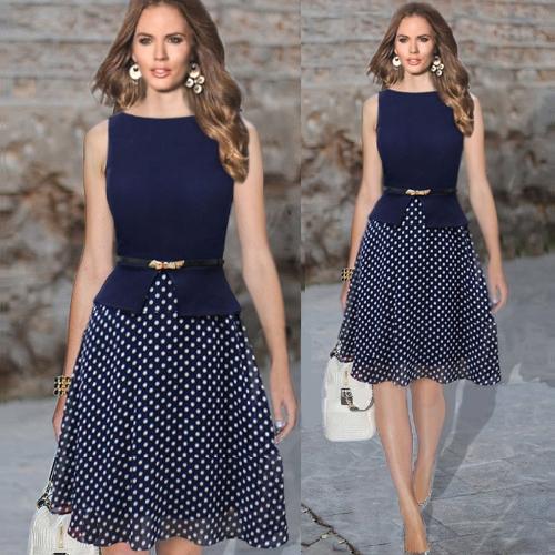 Moda mujer vestido lunares Patchwork gasa impresión cremallera trasera redonda de cuello sin mangas vestido de fiesta azul marino