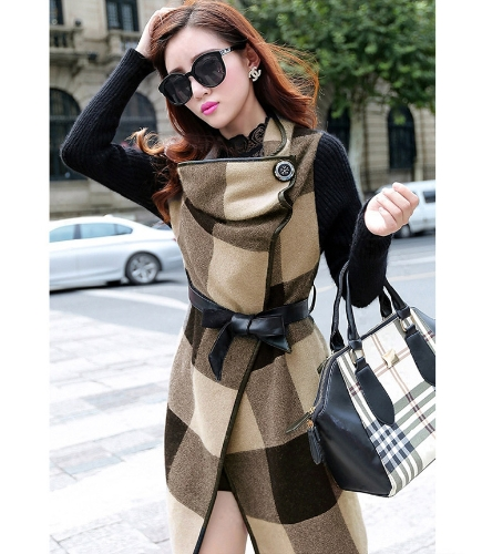 Nueva moda mujer abrigo Patchwork cuadros paquete manga larga cinturón abrigos Vintage café/rojo