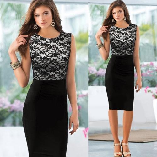 Nova moda mulheres vestem Floral Lace Patchwork cor bloco sem mangas lápis elegante vestido preto