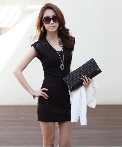 Korean Fashion Women Mini suknia Bez rękawów Koronki Splicing Clubwear Bodycon Kamizelka Sukienka Czarno-Biała
