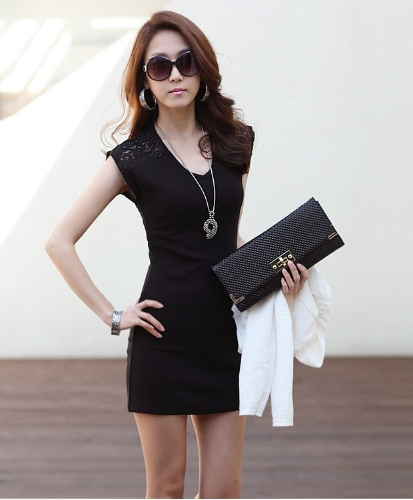 Moda coreana mujeres Mini vestido de encaje sin mangas empalmando Clubwear Bodycon chaleco vestido negro