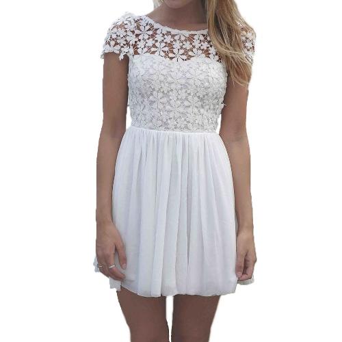 Nueva moda mujeres Mini vestido Crochet encaje Floral Color caramelo fondo abierta gasa vestido Skater