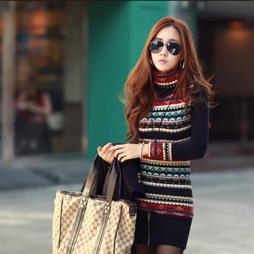Nova moda coreana mulheres t-shirt retrô impressão Tartaruga pescoço longo manga engrossado camisa básica no máximo