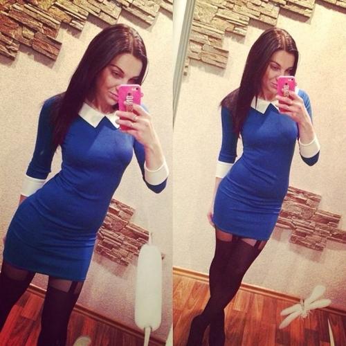 Moda mulheres Mini vestido contraste cor abertura gola manga longa Casual vestido preto/azul/vermelho