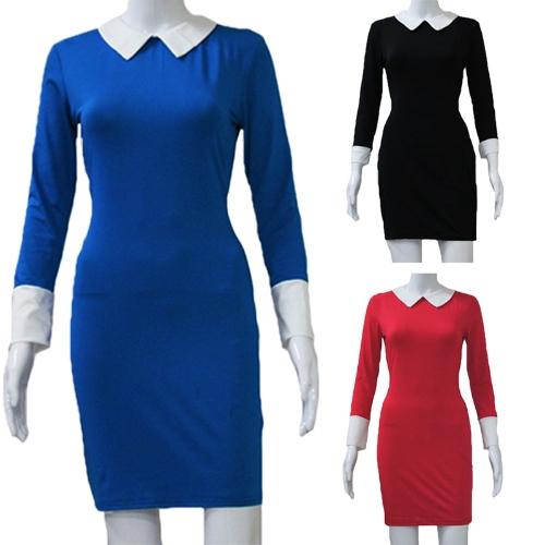 Fashion Women Mini Dress Contrast Color Turn-Down Collar Long Sleeve Casual Dress Black/Blue/Red