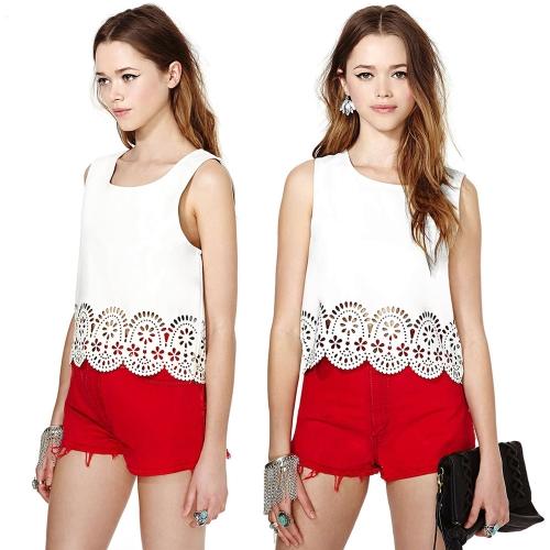 Tomtop coupon: New Fashion Women Chiffon T-Shirt Floral Hollow Hem Round Neck Sleeveless Tank Top Blouse White