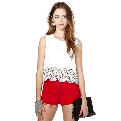 Nueva moda mujeres gasa camiseta Floral hueco dobladillo redondo cuello sin mangas de tirantes blusa blanca