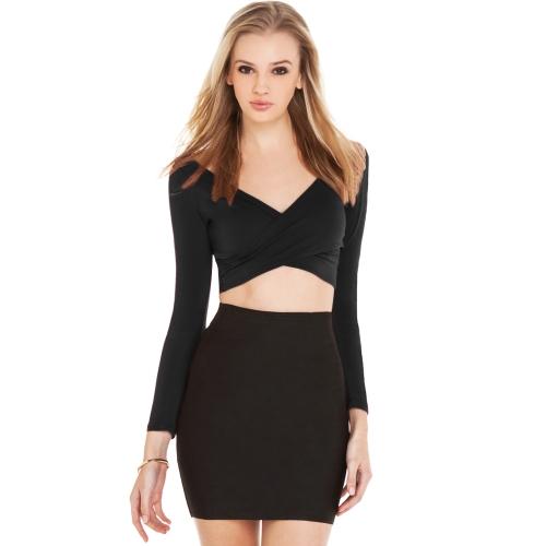 Nueva moda mujer cosecha superior penetración V cuello cruzado manga larga delantera camiseta corta Clubwear Negro/Borgoña