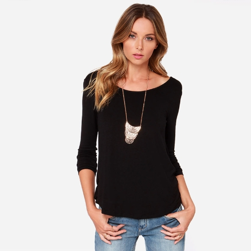 New Fashion Women T-shirt Draped Wrap Pleated Cross Deep V Back Crew Neck Long Sleeve Sexy Blouse