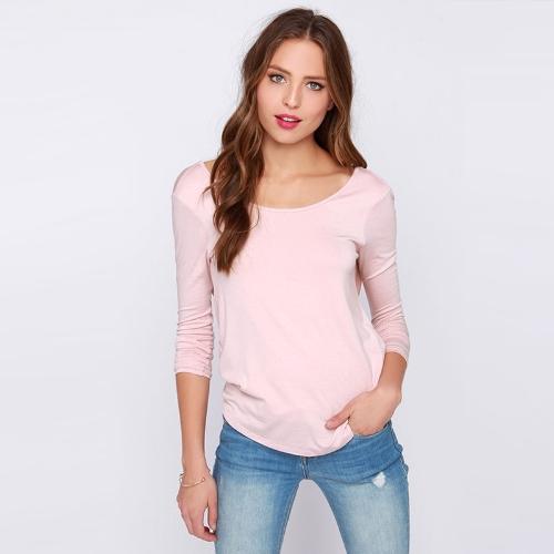 Nueva camiseta de las mujeres de moda vestido abrigo plisado Cruz V profundo manga larga de espalda O cuello blusa Sexy