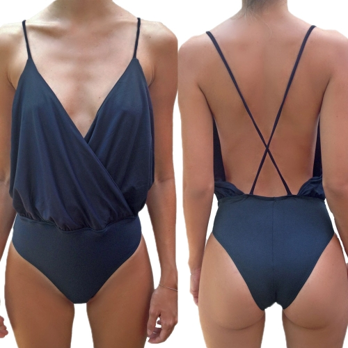 New Fashion Women Jumpsuit Deep V Neck Wrap Front Spaghetti Strap Backless Bodysuit Clubwear Dark Blue/White