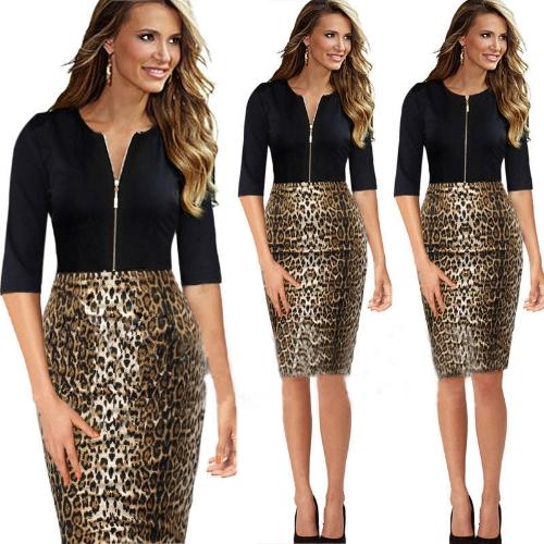 New Fashion Kobiety Sukienka Front Zipper Patchwork Leopard Drukuj Crew Neck Nóż Sleeves Sexy Pencil Dress Brown