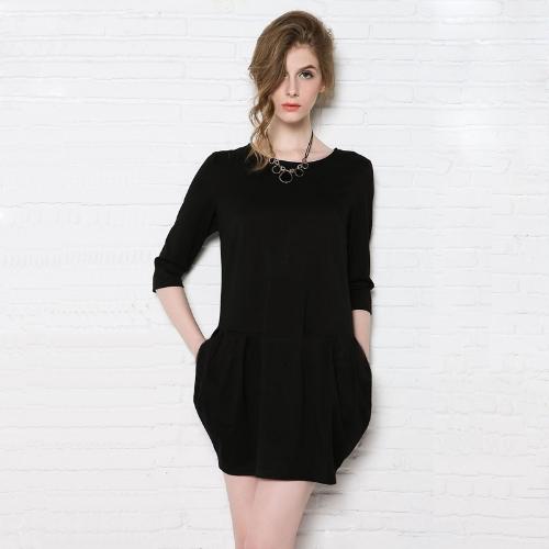Nueva moda mujer Bud vestido bolsillos dobles cuelgue detalle media manga vestido Mini negro/verde