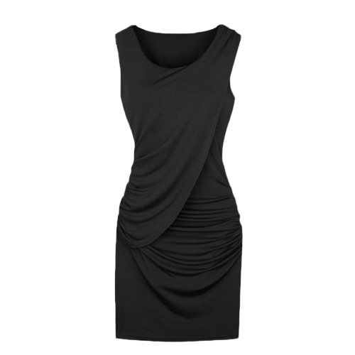 New Celebrity Sexy Women Dress Overlay Ruffles Crew Neck Sleeveless Bodycon Party Mini Dress Black/Khaki/Blue