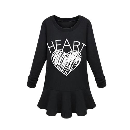As mulheres celebridade Europa vestem carta coração impressão gola redonda manga longa Mini vestido preto/cinza