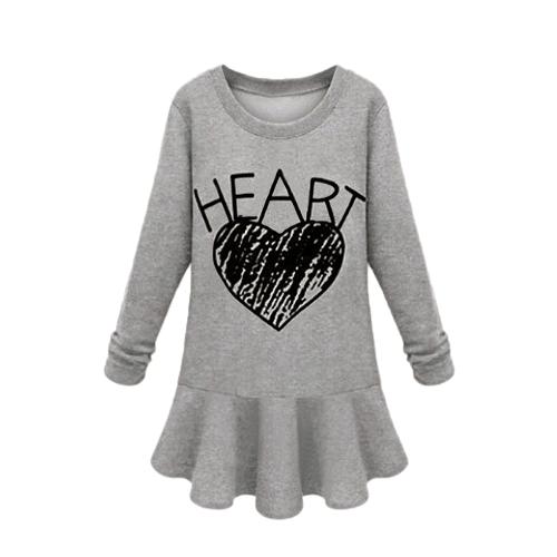 Europa de celebridades mujeres vestido carta corazón impresión cuello redondo manga larga vestido Mini negro/gris