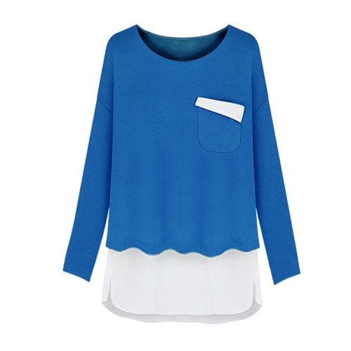 Fashion Women T-Shirt  Faux Two-Piece Chiffon Patchwork Pocket Split Crew Neck Long Sleeve Top Green/Blue