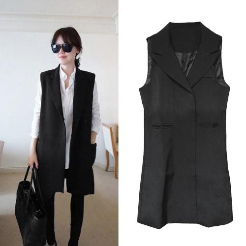 Moda mujer delgada capa dentada Collar prensa doble montante bolsillos sin mangas chaleco chaqueta negro