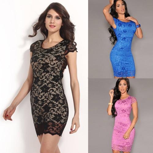 セクシーな女性のドレスの花のレース クルーネック半袖ジッパー オープン バック ミニ ボディコン ドレス ブラック/ピンク/ブルー