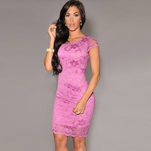 Sexy Vestito delle donne pizzo floreale girocollo manica corta cerniera aperta indietro mini Vestito aderente nero / colore rosa / azzurro