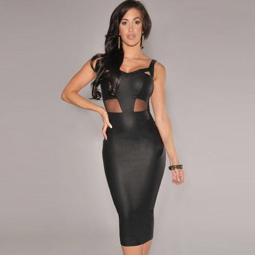 Nuevas mujeres Sexy vestido malla recorte V escote sin mangas fiesta Club Midi vestido negro/blanco