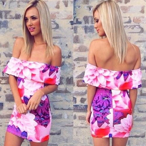New Fashion Women Dress Floral Print Off Shoulder Strapless Bodycon Mini Sexy One-piece Purple