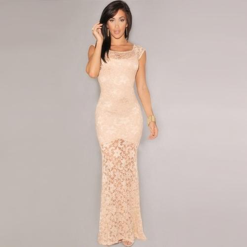 6498983d4d Nova moda mulheres vestido renda forrado sereia sem mangas longa Slim noite  Sexy vestido de festa