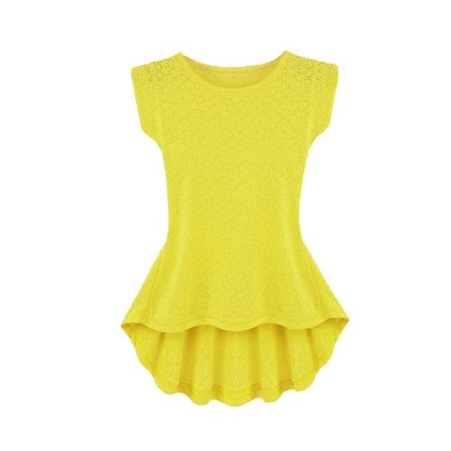 Moda mulheres camiseta padrão Floral cor sólida Irregular Hem rodada pescoço blusa Top amarelo/branco/preto