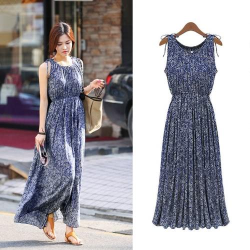 Nova moda mulheres vestem Floral impressão sem mangas plissadas Bohemian praia vestido longo fino azul escuro
