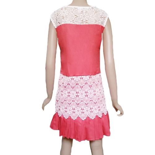 TOMTOP / Moda mulheres Mini vestido Crochet Lace Patchwork pregas Hem zíper lateral redonda pescoço vestido sem mangas vermelha