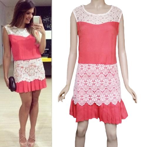 Moda mulheres Mini vestido Crochet Lace Patchwork pregas Hem zíper lateral redonda pescoço vestido sem mangas vermelha