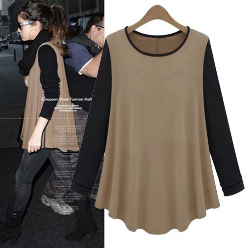 Nueva moda mujeres camiseta contraste Patchwork O-cuello Casual blusa camisera café y negro