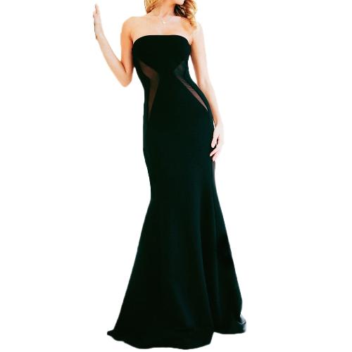 New Sexy Women Dress Bandeau Neck Mesh Mermaid Floor-Length Dress Strapless Elegant Party Dress Black/White