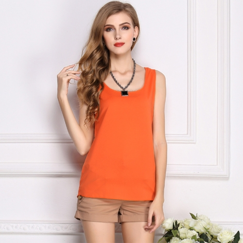 Neue Mode Frauen Tank Top Chiffon Candy Farbe O-Neck ärmelloses lässige Weste Bluse Tops