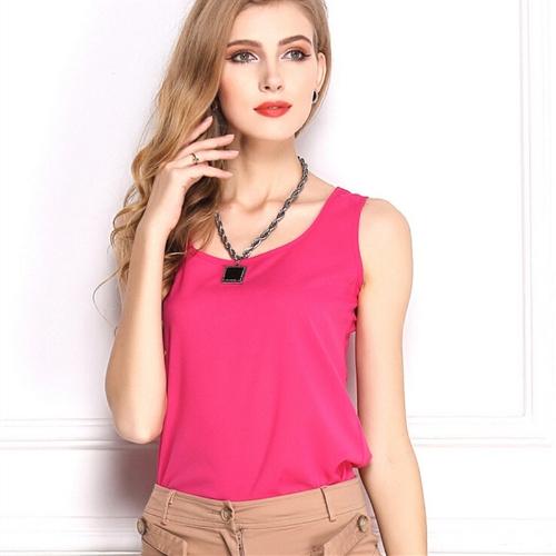 Nueva moda mujer Tank Top gasa Color caramelo O cuello sin mangas chaleco Casual blusa Tops