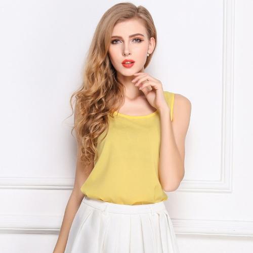 Новая мода женщин бак Топ шифон конфеты цвет O-шеи без рукавов случайных жилет блузка топы