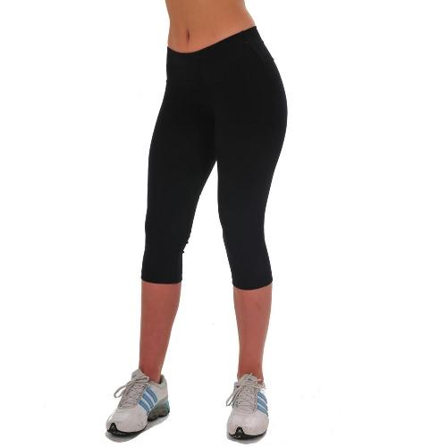 Moda mulheres senhora cortadas calças Vintage impressão cintura elástica ginásio desgaste Yoga calça Capri